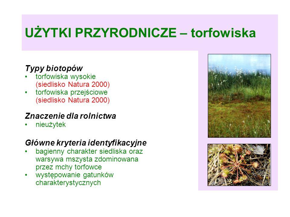 UŻYTKI PRZYRODNICZE – torfowiska Typy biotopów torfowiska wysokie (siedlisko Natura 2000) torfowiska przejściowe (siedlisko Natura 2000) Znaczenie dla rolnictwa nieużytek Główne kryteria identyfikacyjne bagienny charakter siedliska oraz warsywa mszysta zdominowana przez mchy torfowce występowanie gatunków charakterystycznych