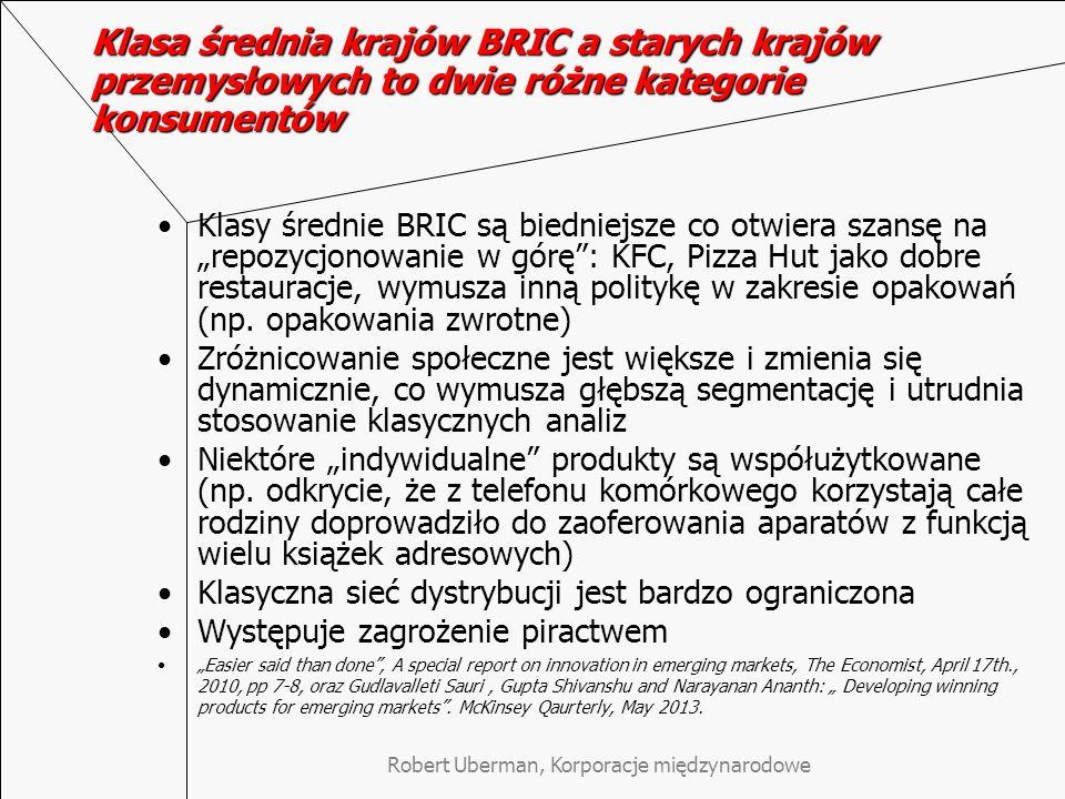 """Klasa średnia krajów BRIC a starych krajów przemysłowych to dwie różne kategorie konsumentów Klasy średnie BRIC są biedniejsze co otwiera szansę na """"repozycjonowanie w górę : KFC, Pizza Hut jako dobre restauracje, wymusza inną politykę w zakresie opakowań (np."""