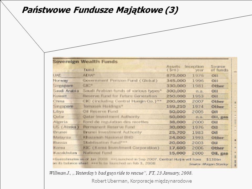 """Państwowe Fundusze Majątkowe (3) Willman J., """"Yesterday's bad guys ride to rescue , FT, 23 January, 2008."""