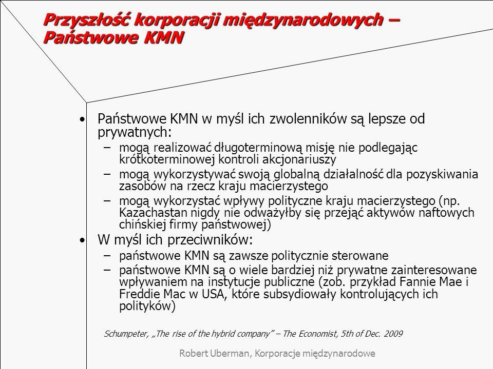 Przyszłość korporacji międzynarodowych – Państwowe KMN Państwowe KMN w myśl ich zwolenników są lepsze od prywatnych: –mogą realizować długoterminową misję nie podlegając krótkoterminowej kontroli akcjonariuszy –mogą wykorzystywać swoją globalną działalność dla pozyskiwania zasobów na rzecz kraju macierzystego –mogą wykorzystać wpływy polityczne kraju macierzystego (np.