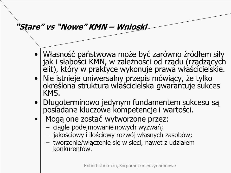 Stare vs Nowe KMN – Wnioski Własność państwowa może być zarówno źródłem siły jak i słabości KMN, w zależności od rządu (rządzących elit), który w praktyce wykonuje prawa właścicielskie.