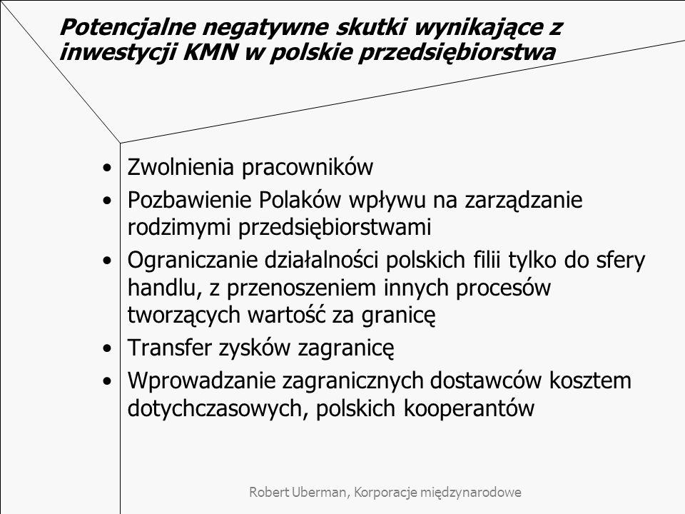 Robert Uberman, Korporacje międzynarodowe Potencjalne negatywne skutki wynikające z inwestycji KMN w polskie przedsiębiorstwa Zwolnienia pracowników Pozbawienie Polaków wpływu na zarządzanie rodzimymi przedsiębiorstwami Ograniczanie działalności polskich filii tylko do sfery handlu, z przenoszeniem innych procesów tworzących wartość za granicę Transfer zysków zagranicę Wprowadzanie zagranicznych dostawców kosztem dotychczasowych, polskich kooperantów