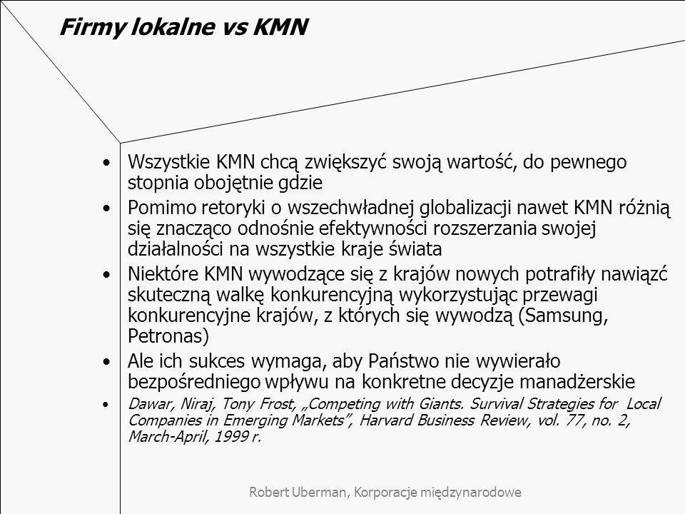 """Firmy lokalne vs KMN Wszystkie KMN chcą zwiększyć swoją wartość, do pewnego stopnia obojętnie gdzie Pomimo retoryki o wszechwładnej globalizacji nawet KMN różnią się znacząco odnośnie efektywności rozszerzania swojej działalności na wszystkie kraje świata Niektóre KMN wywodzące się z krajów nowych potrafiły nawiązć skuteczną walkę konkurencyjną wykorzystując przewagi konkurencyjne krajów, z których się wywodzą (Samsung, Petronas) Ale ich sukces wymaga, aby Państwo nie wywierało bezpośredniego wpływu na konkretne decyzje manadżerskie Dawar, Niraj, Tony Frost, """"Competing with Giants."""