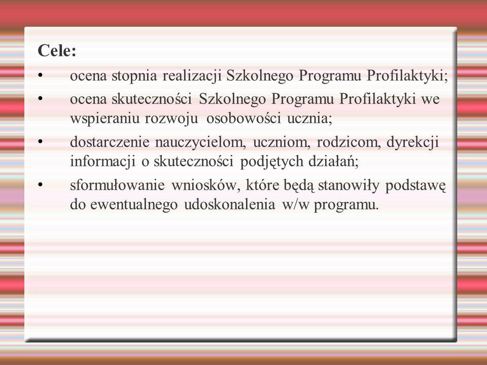 Cele: ocena stopnia realizacji Szkolnego Programu Profilaktyki; ocena skuteczności Szkolnego Programu Profilaktyki we wspieraniu rozwoju osobowości uc