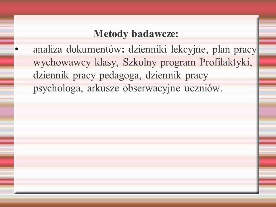 Metody badawcze: analiza dokumentów: dzienniki lekcyjne, plan pracy wychowawcy klasy, Szkolny program Profilaktyki, dziennik pracy pedagoga, dziennik