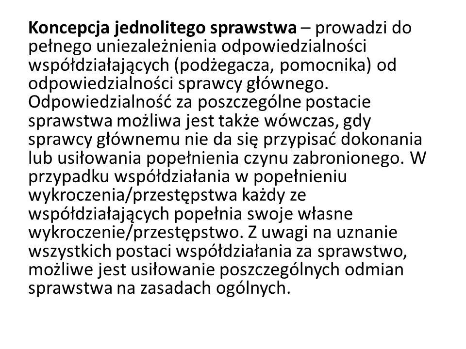 Polska koncepcja postaci zjawiskowych popełnienia przestępstwa/wykroczenia Istotą tej koncepcji jest krańcowe uniezależnienie odpowiedzialności podżegacza i pomocnika od odpowiedzialności sprawcy, oparte na zasadzie odpowiedzialności indywidualnej.