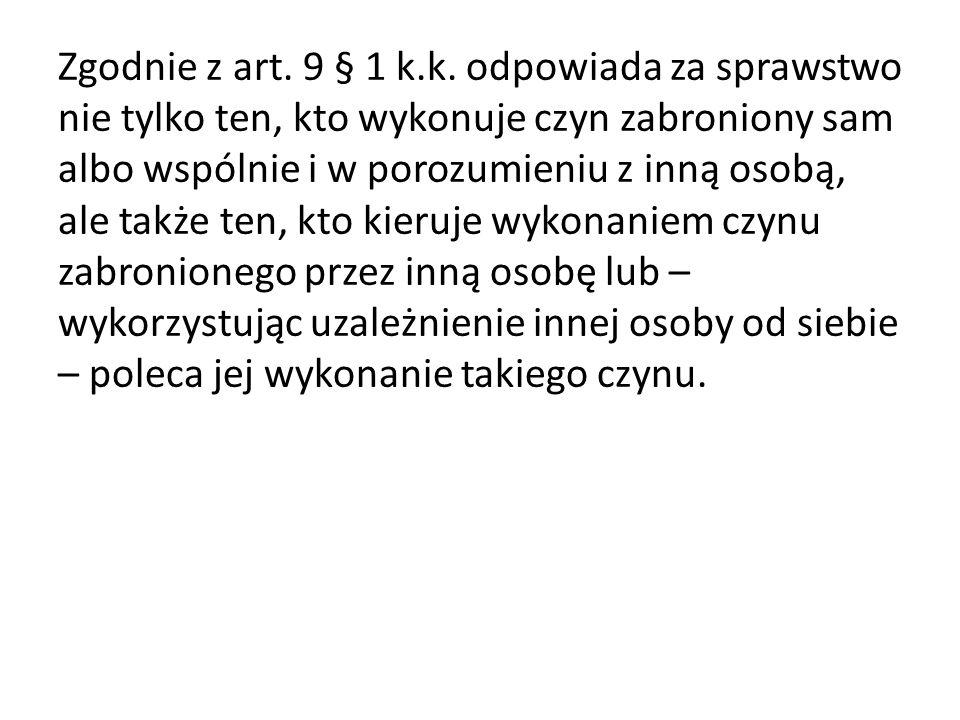 Quasi - sprawstwo Zastępstwo prawne - art.9 § 3 k.k.s.
