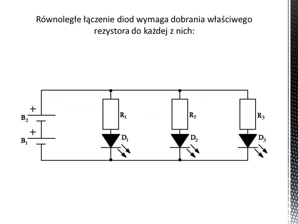 napięcie zasilania oraz kolory diod LED kierunek przepływu prądu w obwodzie prąd: I, I 1, I 2, I 3