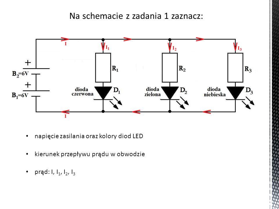 Oblicz prąd w obwodzie (dane diod przyjmij z tabeli z zadania 2 z lekcji 5) Z pierwszego prawa Kirchhoffa: I = I 1 + I 2 + I 3 I = 20mA + 20mA + 20mA I = 60mA