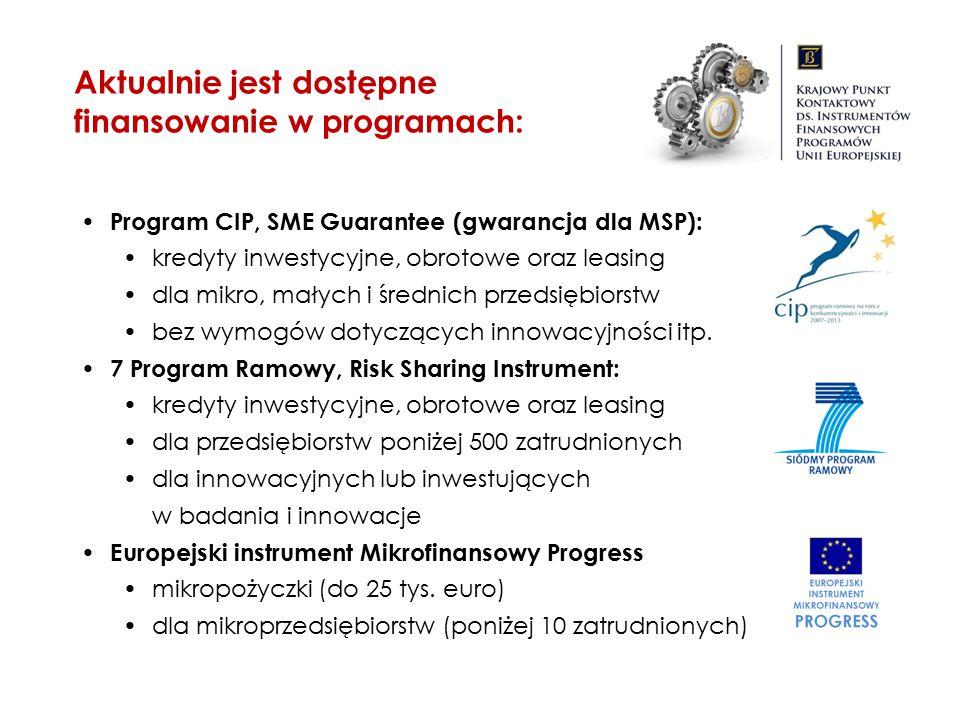 Aktualnie jest dostępne finansowanie w programach: Program CIP, SME Guarantee (gwarancja dla MSP): kredyty inwestycyjne, obrotowe oraz leasing dla mik