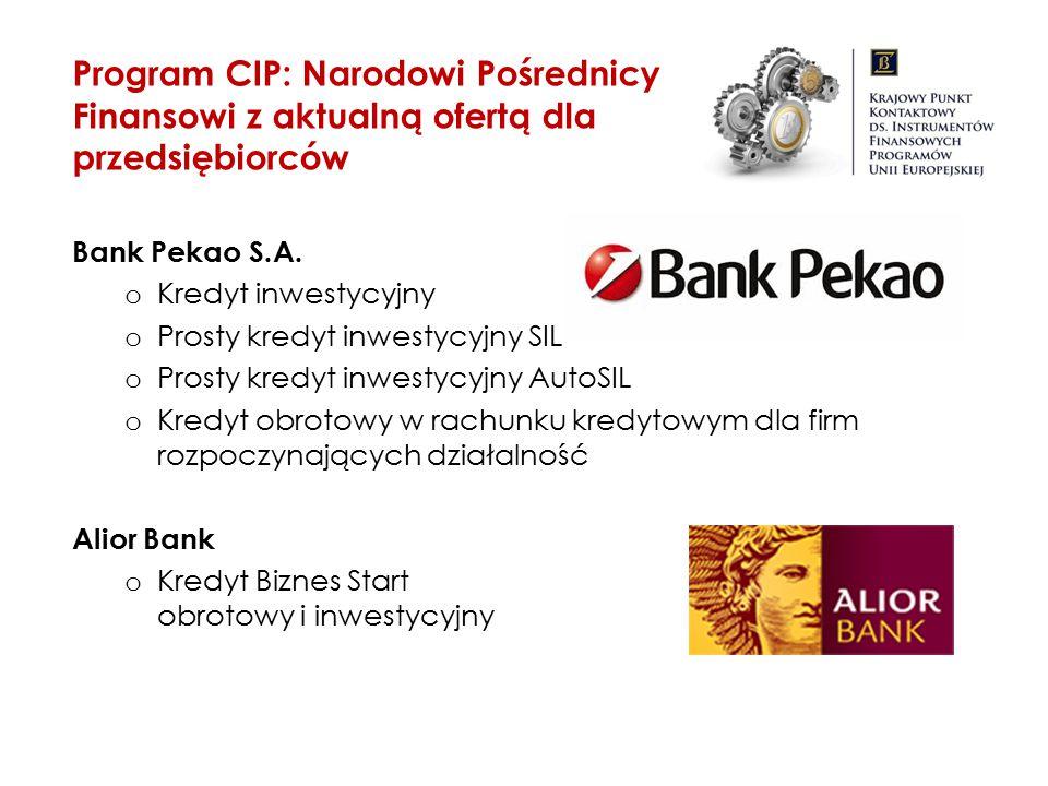 Bank Pekao S.A. o Kredyt inwestycyjny o Prosty kredyt inwestycyjny SIL o Prosty kredyt inwestycyjny AutoSIL o Kredyt obrotowy w rachunku kredytowym dl