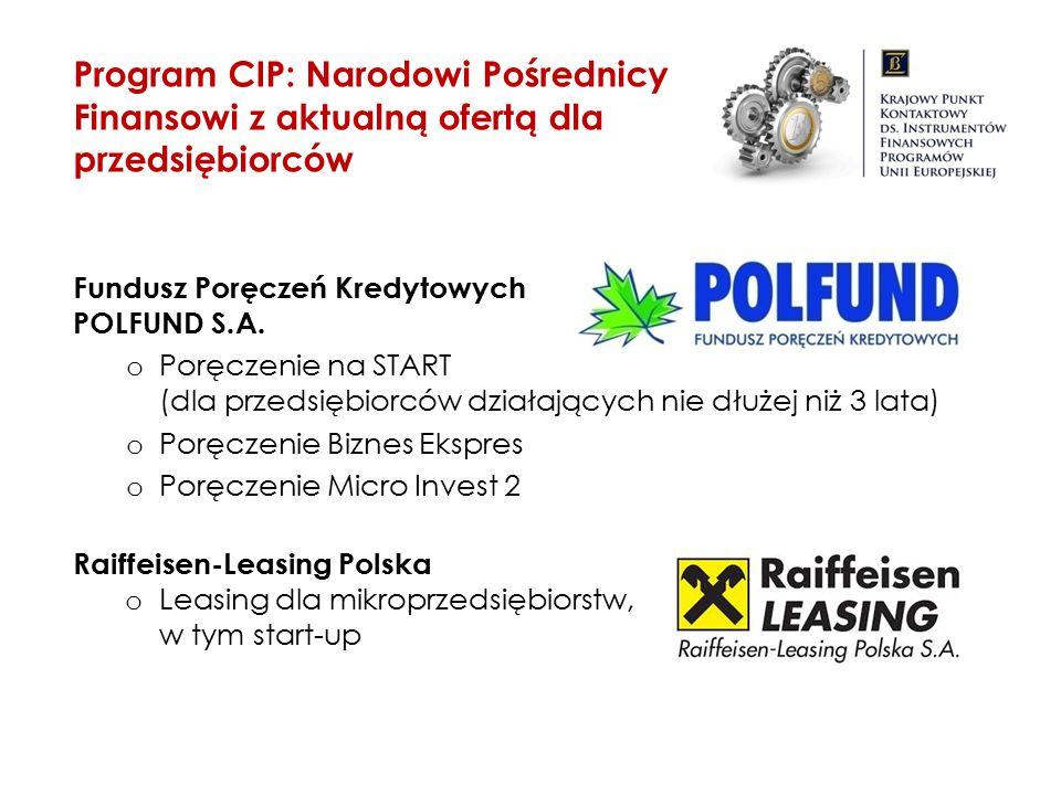 Fundusz Poręczeń Kredytowych POLFUND S.A. o Poręczenie na START (dla przedsiębiorców działających nie dłużej niż 3 lata) o Poręczenie Biznes Ekspres o