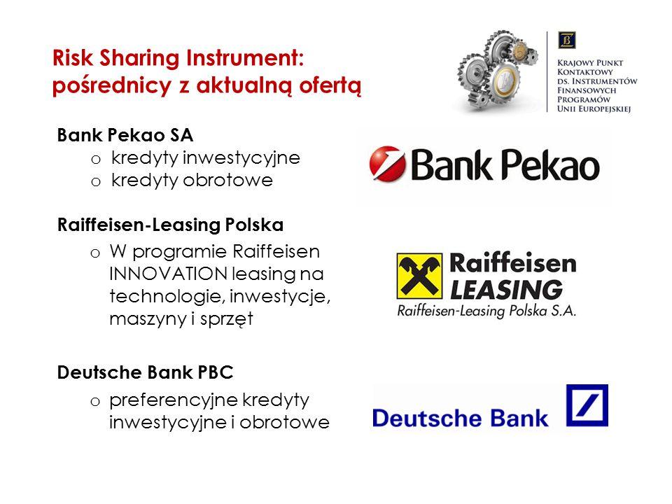 Bank Pekao SA o kredyty inwestycyjne o kredyty obrotowe Raiffeisen-Leasing Polska o W programie Raiffeisen INNOVATION leasing na technologie, inwestyc
