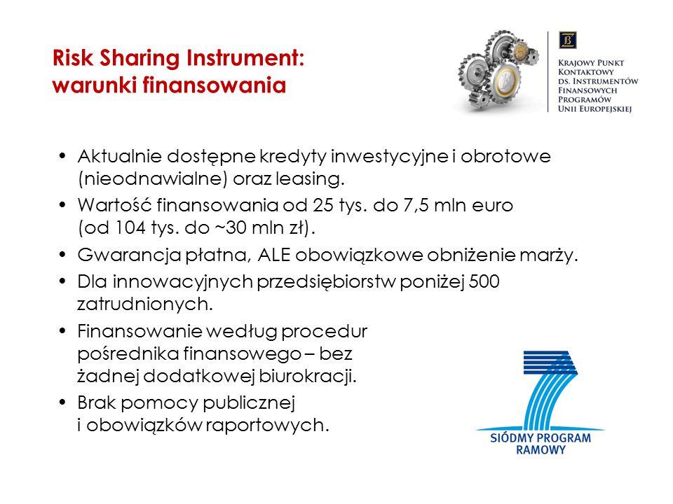 Risk Sharing Instrument: warunki finansowania Aktualnie dostępne kredyty inwestycyjne i obrotowe (nieodnawialne) oraz leasing. Wartość finansowania od