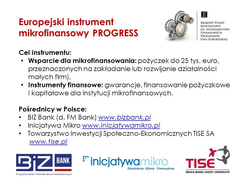 Cel instrumentu: Wsparcie dla mikrofinansowania: pożyczek do 25 tys. euro, przeznaczonych na zakładanie lub rozwijanie działalności małych firm), Inst