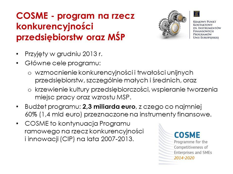 COSME - program na rzecz konkurencyjności przedsiębiorstw oraz MŚP Przyjęty w grudniu 2013 r. Główne cele programu: o wzmocnienie konkurencyjności i t