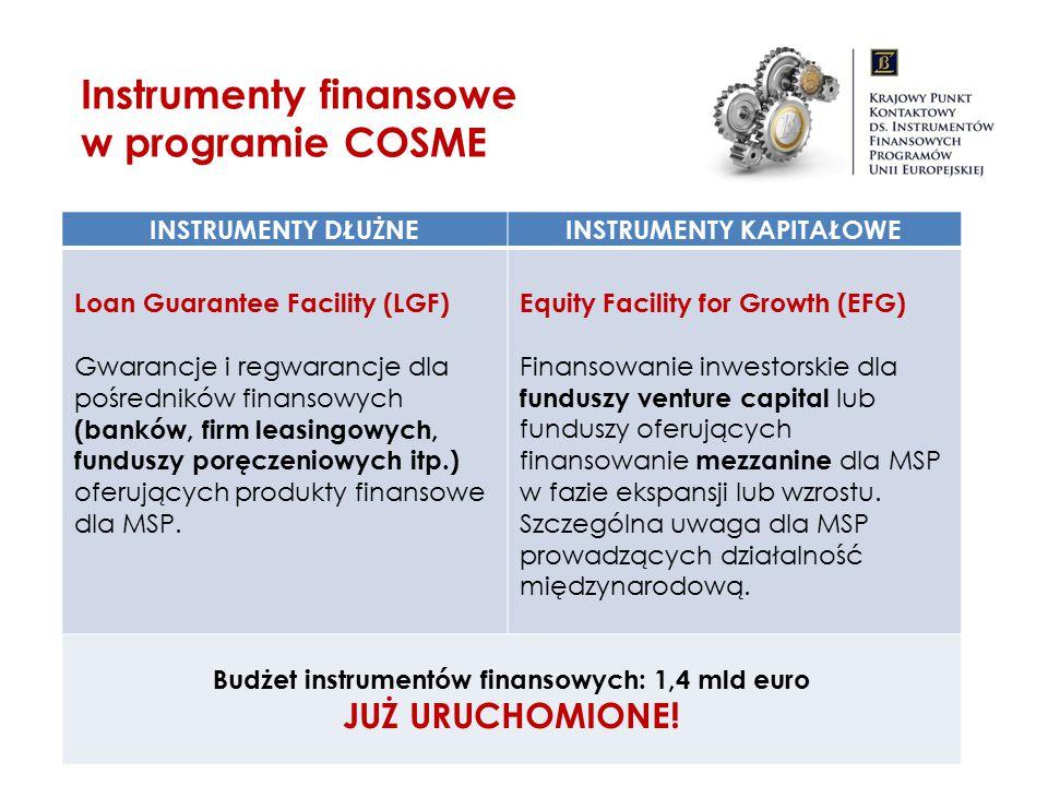 Instrumenty finansowe w programie COSME INSTRUMENTY DŁUŻNEINSTRUMENTY KAPITAŁOWE Loan Guarantee Facility (LGF) Gwarancje i regwarancje dla pośredników