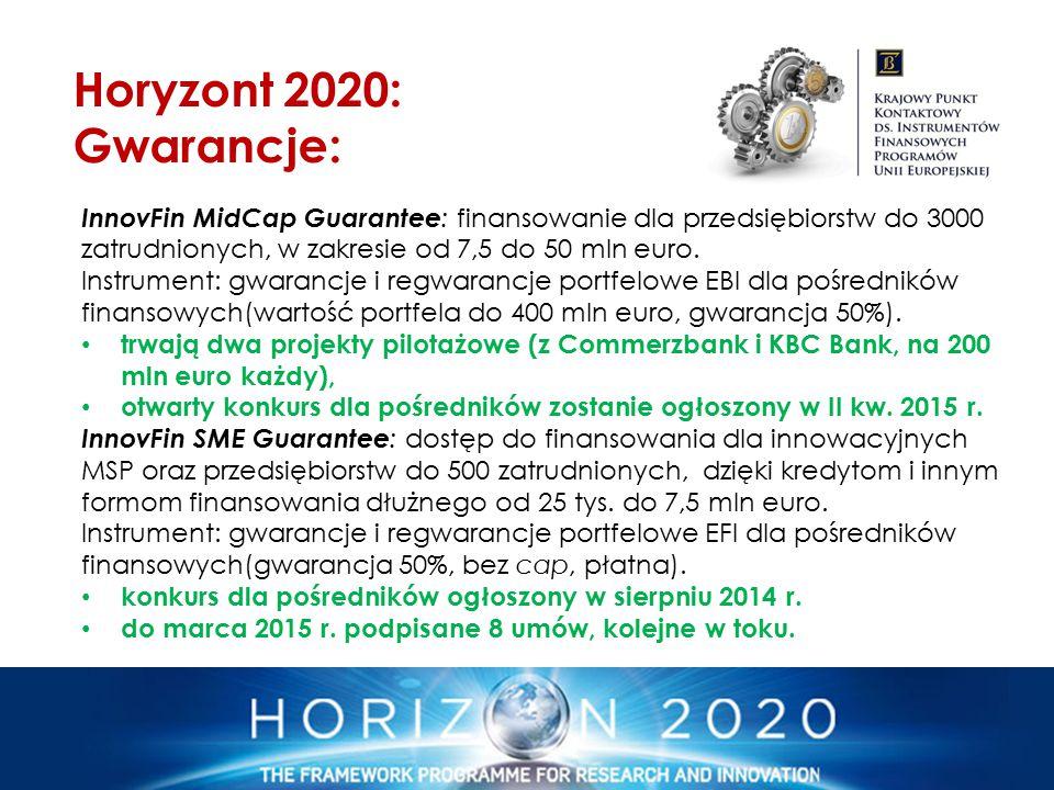 InnovFin MidCap Guarantee : finansowanie dla przedsiębiorstw do 3000 zatrudnionych, w zakresie od 7,5 do 50 mln euro. Instrument: gwarancje i regwaran