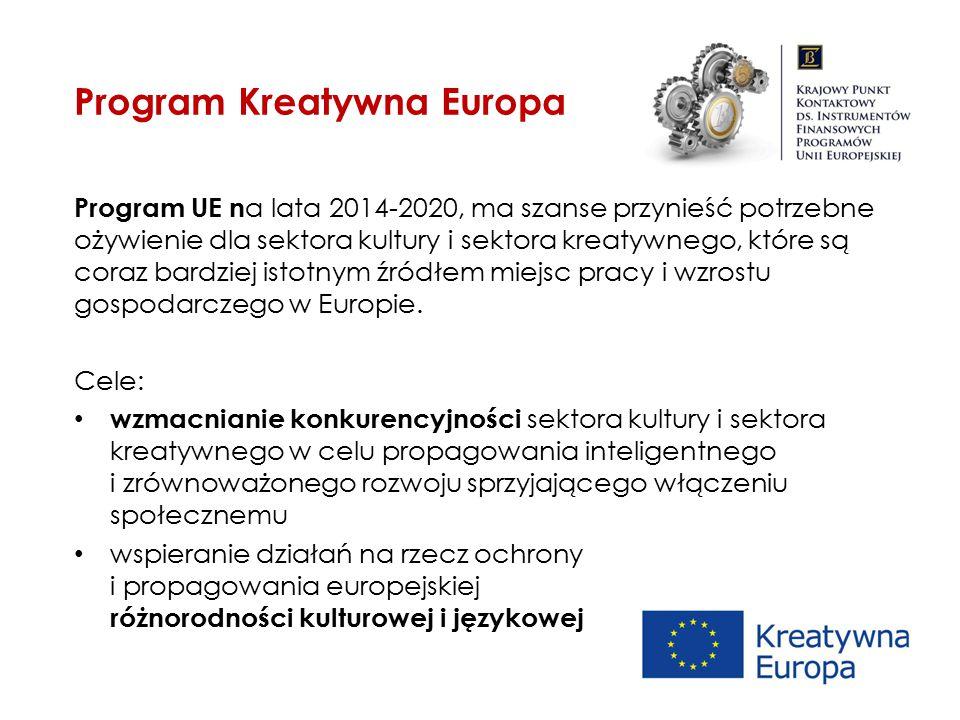 Program UE n a lata 2014-2020, ma szanse przynieść potrzebne ożywienie dla sektora kultury i sektora kreatywnego, które są coraz bardziej istotnym źró