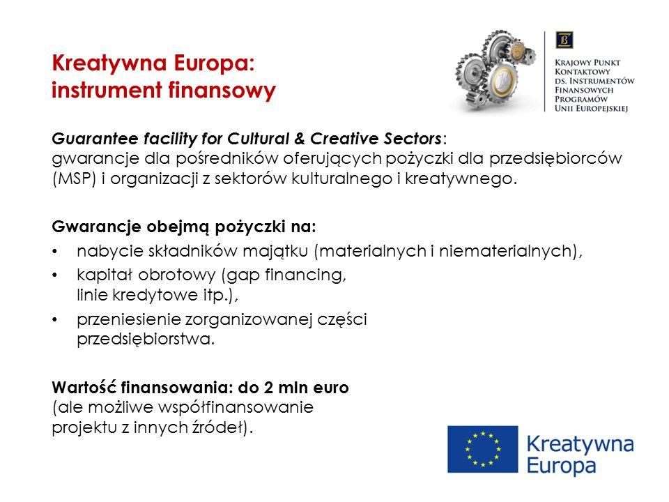 Guarantee facility for Cultural & Creative Sectors : gwarancje dla pośredników oferujących pożyczki dla przedsiębiorców (MSP) i organizacji z sektorów