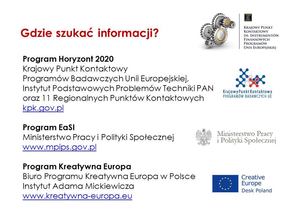 Program Horyzont 2020 Krajowy Punkt Kontaktowy Programów Badawczych Unii Europejskiej, Instytut Podstawowych Problemów Techniki PAN oraz 11 Regionalny
