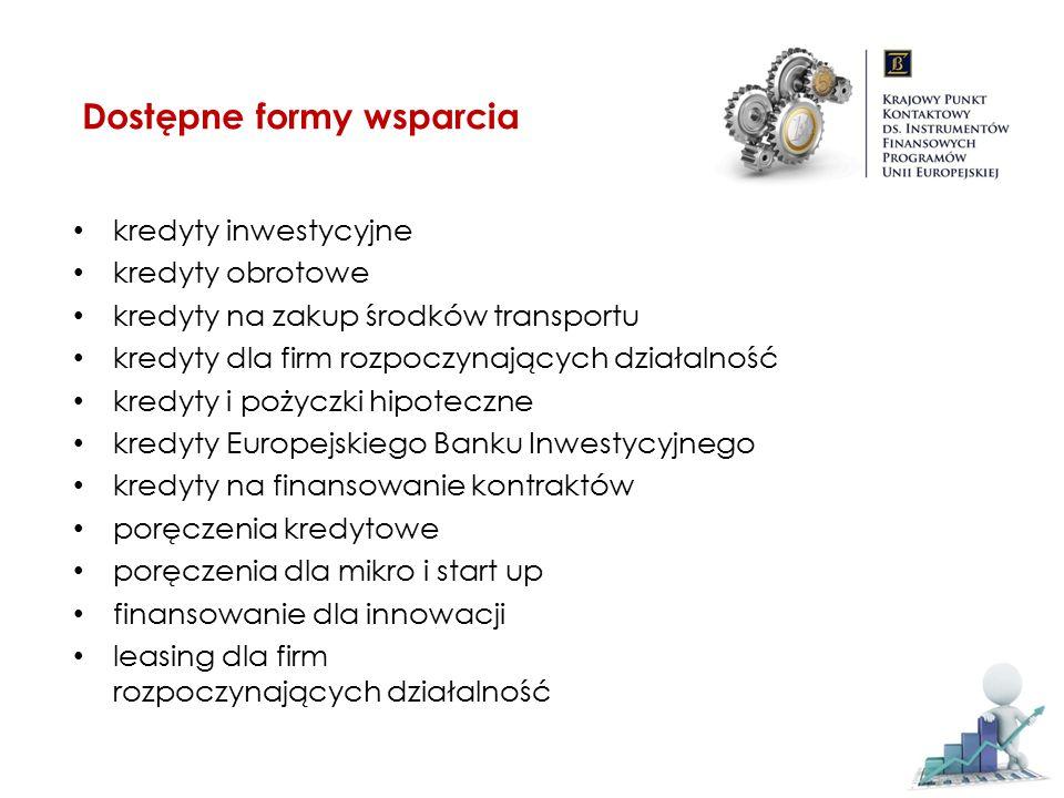 gwarancje UE są bezpłatne (CIP, PROGRESS) lub bardzo tanie (RSI) brak statusu i obciążeń pomocy publicznej brak lub niższe zabezpieczenia od kredytobiorcy brak lub niższy wkład własny kredytobiorcy obniżenie marży (RSI) wydłużony okres kredytowania uproszczone procedury ułatwiona dostępność (dostępne w całej Polsce, w kilku tys.