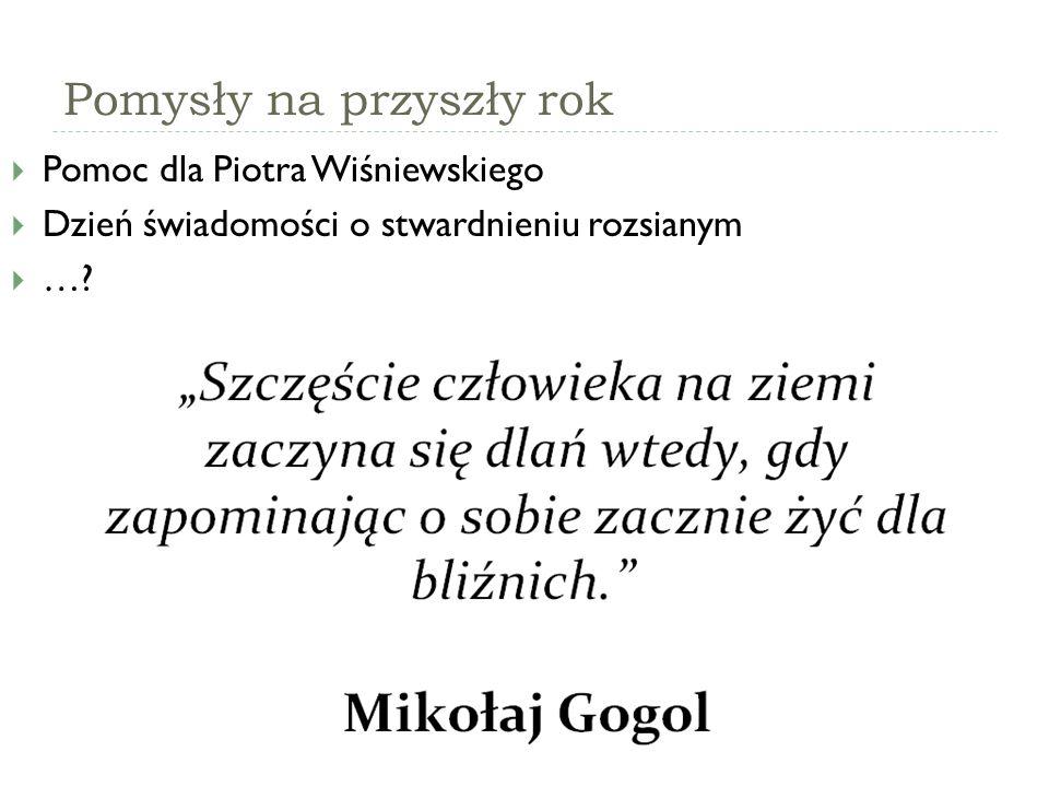 Pomysły na przyszły rok  Pomoc dla Piotra Wiśniewskiego  Dzień świadomości o stwardnieniu rozsianym  …