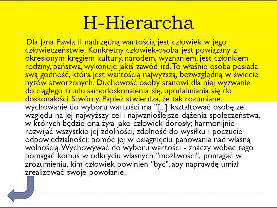 H-Hierarcha Dla Jana Pawła II nadrzędną wartością jest człowiek w jego człowieczeństwie. Konkretny człowiek-osoba jest powiązany z określonym kręgiem
