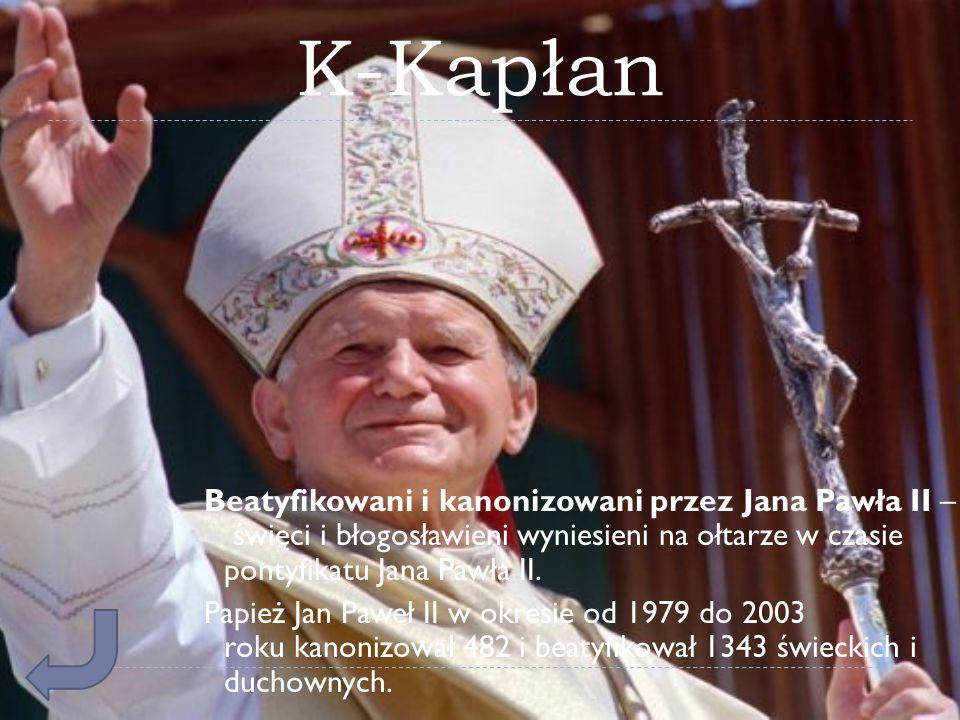 K-Kapłan Beatyfikowani i kanonizowani przez Jana Pawła II – święci i błogosławieni wyniesieni na ołtarze w czasie pontyfikatu Jana Pawła II. Papież Ja