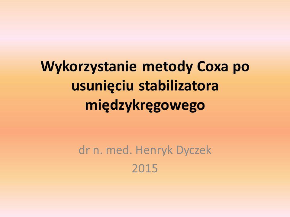 Wykorzystanie metody Coxa po usunięciu stabilizatora międzykręgowego dr n. med. Henryk Dyczek 2015