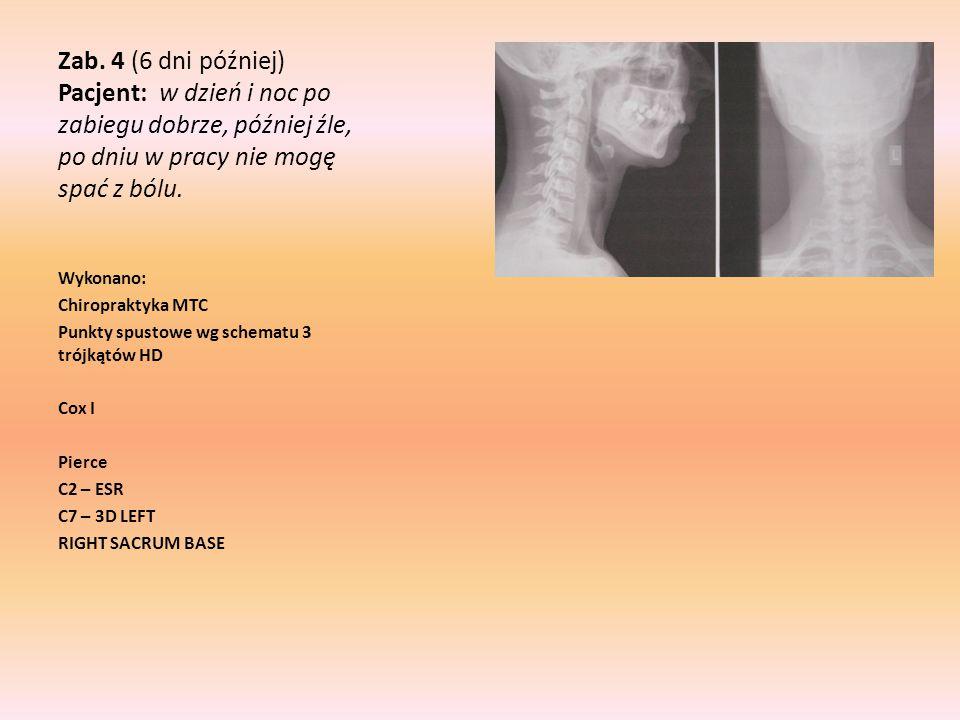 Zab. 4 (6 dni później) Pacjent: w dzień i noc po zabiegu dobrze, później źle, po dniu w pracy nie mogę spać z bólu. Wykonano: Chiropraktyka MTC Punkty