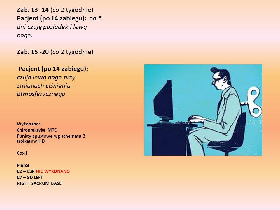 Zab. 13 -14 (co 2 tygodnie) Pacjent (po 14 zabiegu): od 5 dni czuję pośladek i lewą nogę. Zab. 15 -20 (co 2 tygodnie) Pacjent (po 14 zabiegu): czuje l