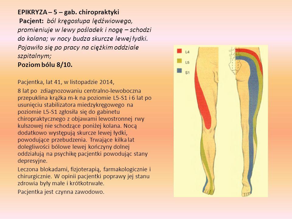 EPIKRYZA – 5 – gab. chiropraktyki Pacjent: ból kręgosłupa lędźwiowego, promieniuje w lewy pośladek i nogę – schodzi do kolana; w nocy budza skurcze le