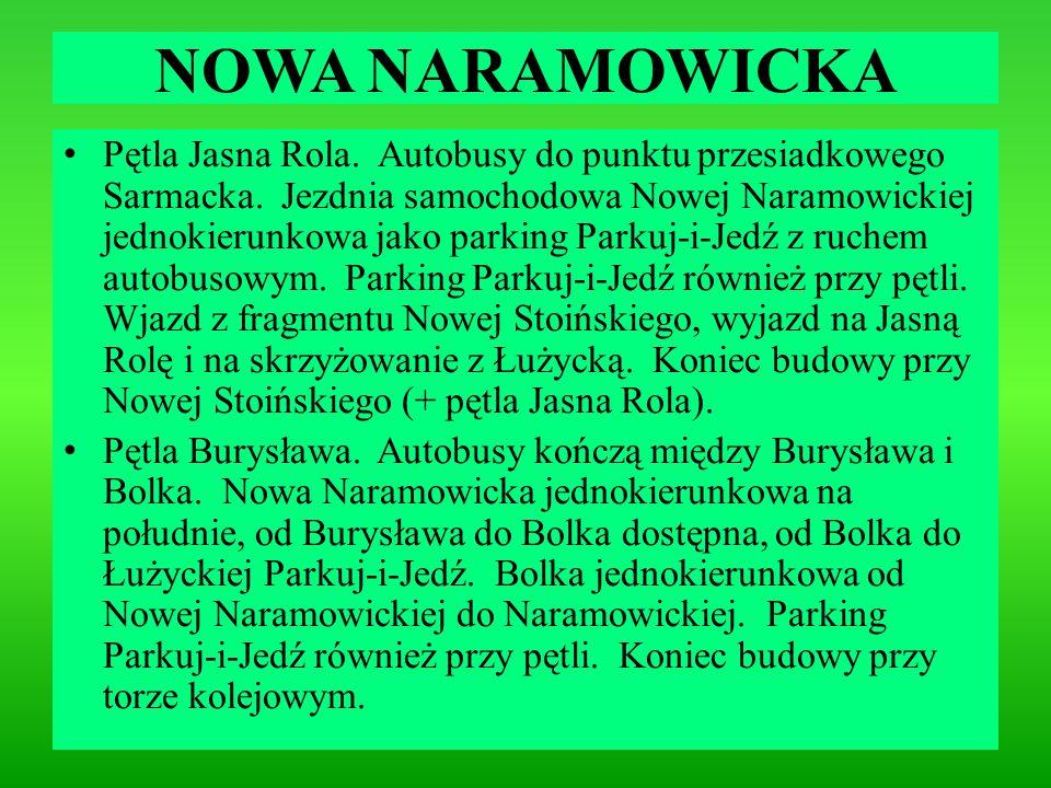 NOWA NARAMOWICKA Pętla Jasna Rola. Autobusy do punktu przesiadkowego Sarmacka. Jezdnia samochodowa Nowej Naramowickiej jednokierunkowa jako parking Pa