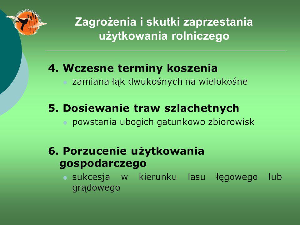 Zagrożenia i skutki zaprzestania użytkowania rolniczego 4. Wczesne terminy koszenia zamiana łąk dwukośnych na wielokośne 5. Dosiewanie traw szlachetny