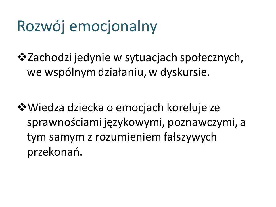 Rozwój emocjonalny  Zachodzi jedynie w sytuacjach społecznych, we wspólnym działaniu, w dyskursie.  Wiedza dziecka o emocjach koreluje ze sprawności
