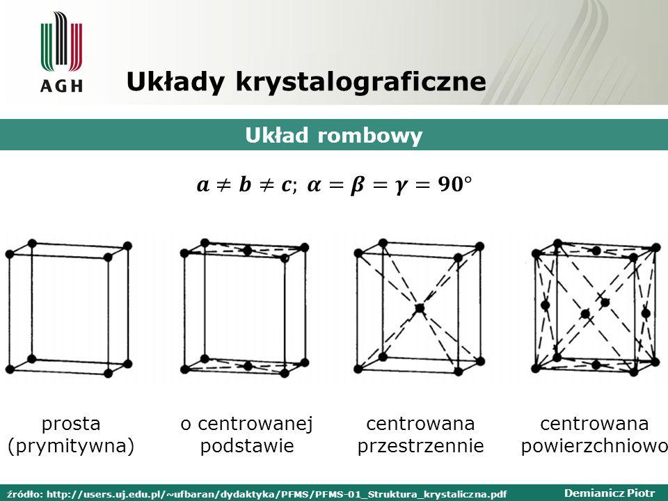 Demianicz Piotr Układy krystalograficzne Układ rombowy prosta (prymitywna) o centrowanej podstawie centrowana przestrzennie centrowana powierzchniowo