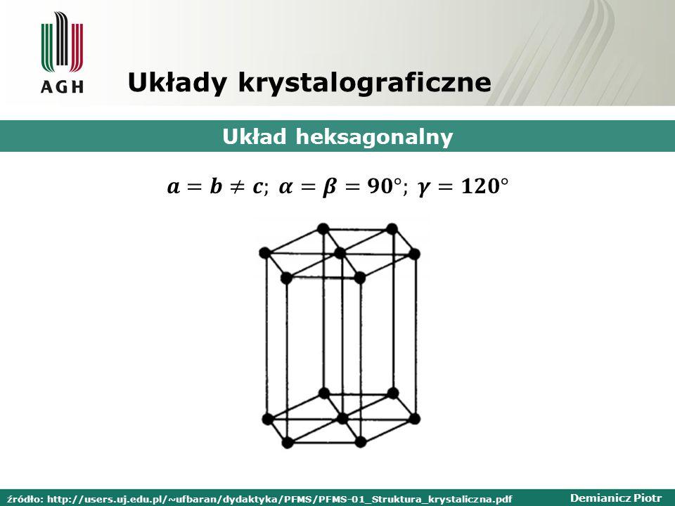 Demianicz Piotr Układy krystalograficzne Układ heksagonalny źródło: http://users.uj.edu.pl/~ufbaran/dydaktyka/PFMS/PFMS-01_Struktura_krystaliczna.pdf