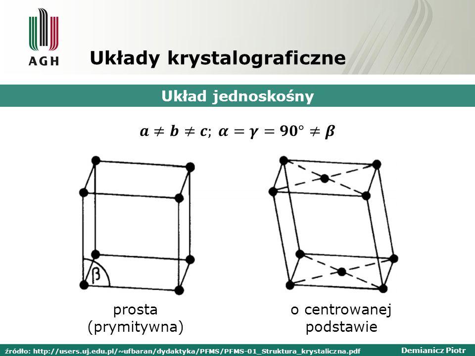 Demianicz Piotr Układy krystalograficzne Układ jednoskośny prosta (prymitywna) o centrowanej podstawie źródło: http://users.uj.edu.pl/~ufbaran/dydakty
