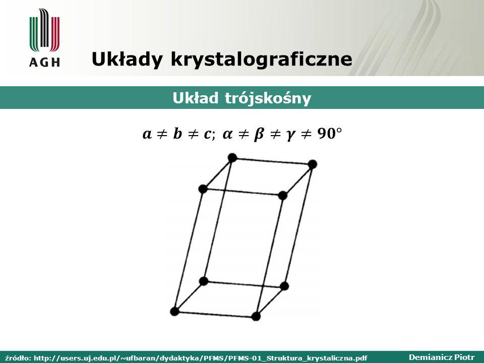 Demianicz Piotr Układy krystalograficzne Układ trójskośny źródło: http://users.uj.edu.pl/~ufbaran/dydaktyka/PFMS/PFMS-01_Struktura_krystaliczna.pdf
