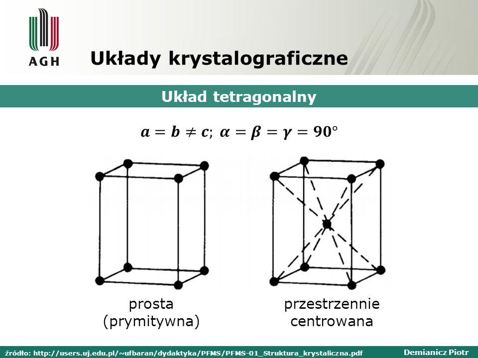 Demianicz Piotr Układy krystalograficzne Układ tetragonalny prosta (prymitywna) przestrzennie centrowana źródło: http://users.uj.edu.pl/~ufbaran/dydaktyka/PFMS/PFMS-01_Struktura_krystaliczna.pdf