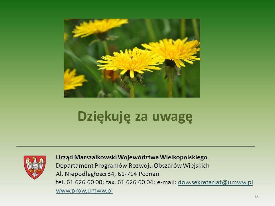 18 Urząd Marszałkowski Województwa Wielkopolskiego Departament Programów Rozwoju Obszarów Wiejskich Al.