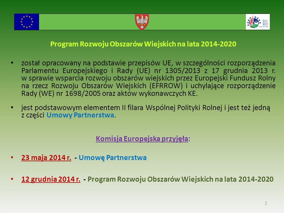 Program Rozwoju Obszarów Wiejskich na lata 2014-2020 został opracowany na podstawie przepisów UE, w szczególności rozporządzenia Parlamentu Europejskiego i Rady (UE) nr 1305/2013 z 17 grudnia 2013 r.