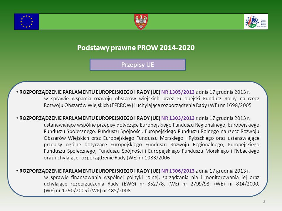 3 Podstawy prawne PROW 2014-2020 Przepisy UE ROZPORZĄDZENIE PARLAMENTU EUROPEJSKIEGO i RADY (UE) NR 1305/2013 z dnia 17 grudnia 2013 r.