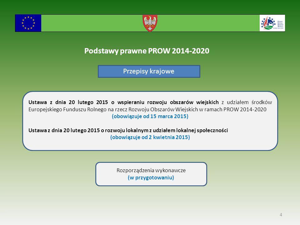 4 Podstawy prawne PROW 2014-2020 Ustawa z dnia 20 lutego 2015 o wspieraniu rozwoju obszarów wiejskich z udziałem środków Europejskiego Funduszu Rolnego na rzecz Rozwoju Obszarów Wiejskich w ramach PROW 2014-2020 (obowiązuje od 15 marca 2015) Ustawa z dnia 20 lutego 2015 o rozwoju lokalnym z udziałem lokalnej społeczności (obowiązuje od 2 kwietnia 2015) Rozporządzenia wykonawcze (w przygotowaniu) Przepisy krajowe