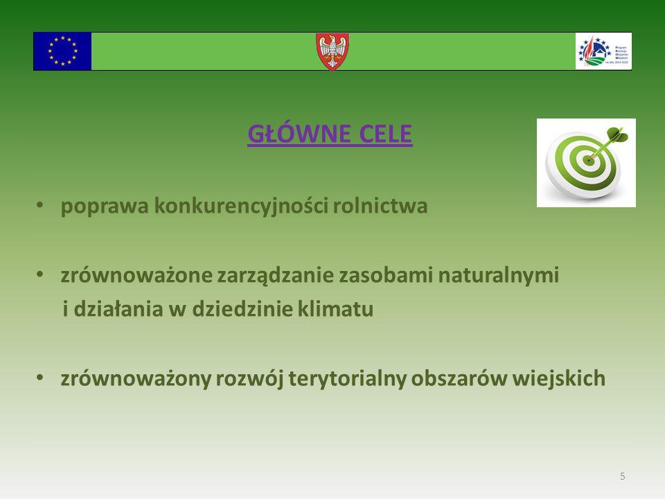 GŁÓWNE CELE poprawa konkurencyjności rolnictwa zrównoważone zarządzanie zasobami naturalnymi i działania w dziedzinie klimatu zrównoważony rozwój terytorialny obszarów wiejskich 5