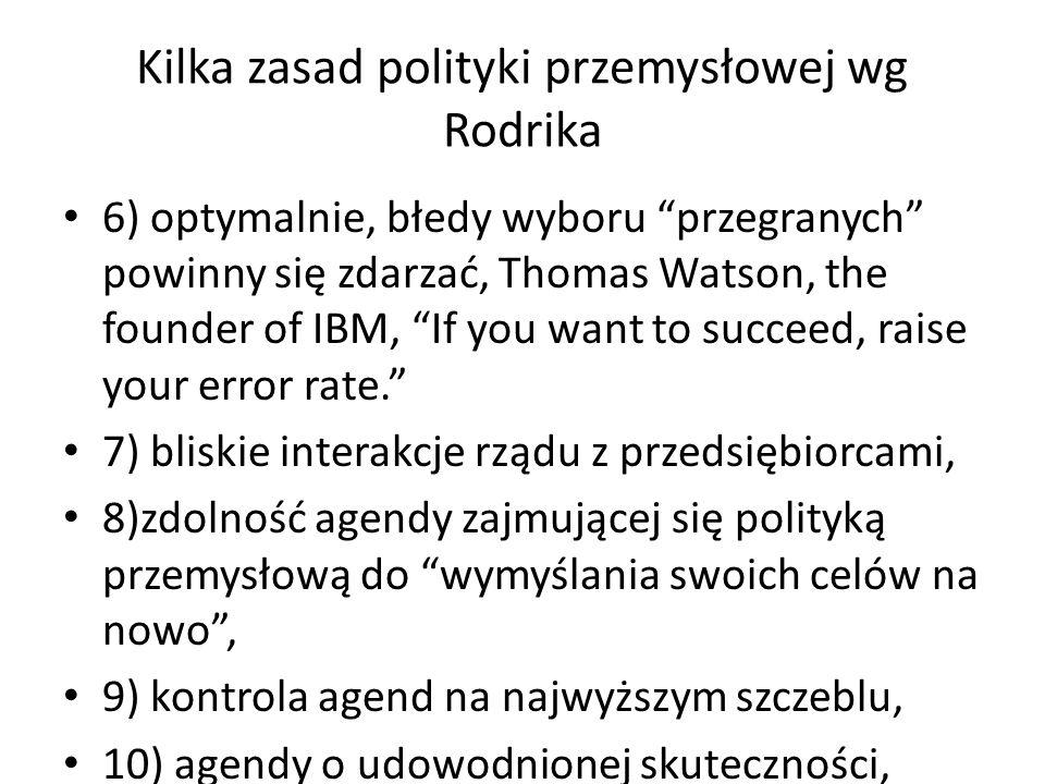 """Kilka zasad polityki przemysłowej wg Rodrika 6) optymalnie, błedy wyboru """"przegranych"""" powinny się zdarzać, Thomas Watson, the founder of IBM, """"If you"""
