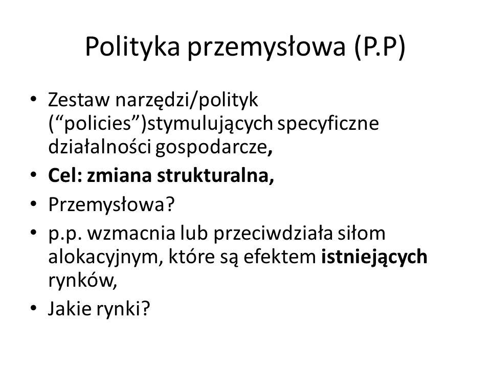 """Polityka przemysłowa (P.P) Zestaw narzędzi/polityk (""""policies"""")stymulujących specyficzne działalności gospodarcze, Cel: zmiana strukturalna, Przemysło"""