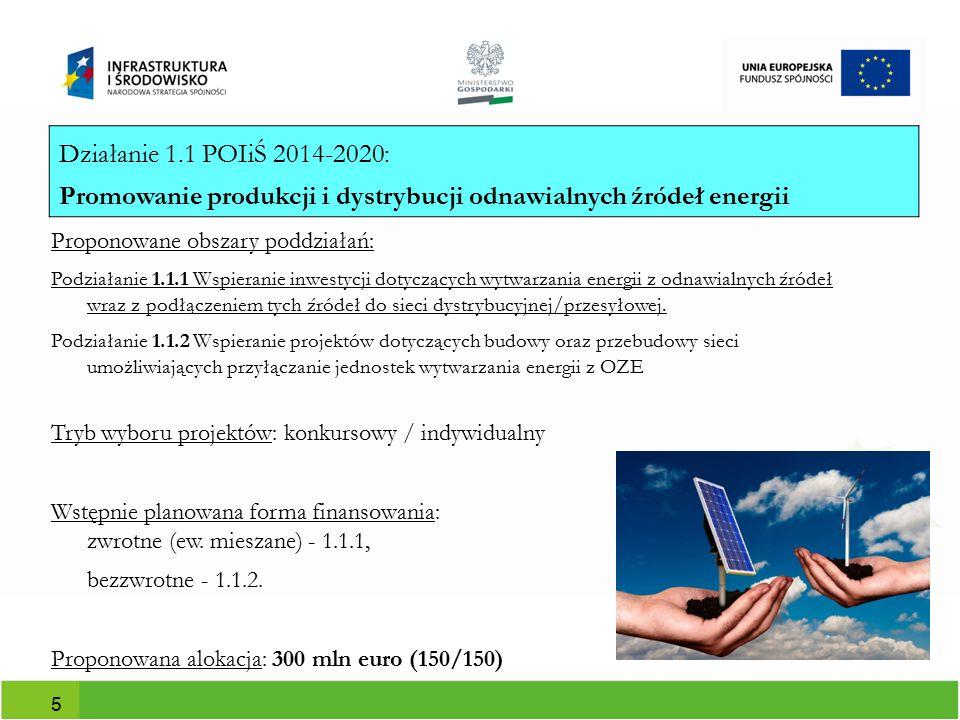 Proponowane obszary działań (duże przedsiębiorstwa): - modernizacja linii technologicznych; - głęboka, kompleksowa modernizacja energetyczna budynków w przedsiębiorstwach, - zastosowanie technologii efektywnych energetycznie; - budowa/rozbudowa instalacji własnych OZE - zastosowanie technologii odzysku energii wraz z systemem wykorzystania ciepła odpadowego Tryb wyboru projektów: konkursowy Wstępnie planowana forma finansowania: bezzwrotne Alokacja: 150,3 mln euro 6 Działanie 1.2 POIiŚ 2014-2020: Promowanie efektywności energetycznej i korzystania z OZE w przedsiębiorstwach