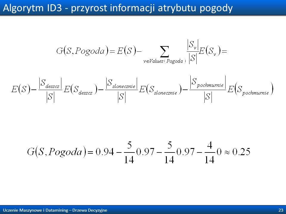 Algorytm ID3 - przyrost informacji atrybutu pogody 23Uczenie Maszynowe i Datamining – Drzewa Decyzyjne